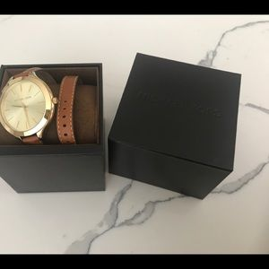Michael Kors Double Leather Strap Watch